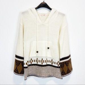 No Huan Yi Chu Cream Hooded Knit Aztec Sweater